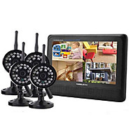 "2.4GHz 4-channel Wireless DVR Security System 7"" TFT LCD Monitor with 4 x Wireless IR Camera"