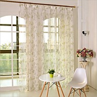 Two Panels Country Floral Botanical Green Kids Room Polyester Sheer Curtains Shades