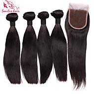 """smilco 12 """"-34"""" 4 bunter med nedleggelse 100% menneskehår brazilian jomfru hår med nedleggelse hårbunter med blonder nedleggelser"""
