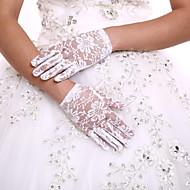 Delicate Lace Wrist Length Fingertips Flower Girl's Gloves Kids Children's Glove+DIY Pearls and Rhinestones