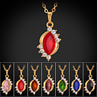 Instyle 18K Chunky Gold Plated Rhinestone Crystal Pendant Ruby Stone High Quality