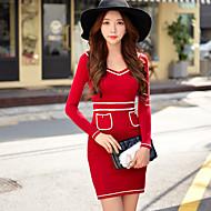 női piros / fekete ruha, V nyakú szexi bodycon kötött hosszú ujjú ruha