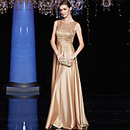 Formal Evening Dress A-line Jewel Floor-length Satin / Charmeuse / Sequined with Sequins / Pleats