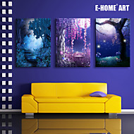 E-HOME® Stretched LED Canvas Print Art The Moonlight Fantasy Forest LED Flashing Optical Fiber Print Set of 3