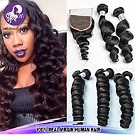Trama del pelo virginal 3 paquetes peruano ola suelto con 1pcs de cierre de encaje parte libre extensiones de cabello natural negro
