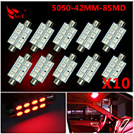10X RED 41MM 5050 8SMD Festoon Dome Map Interior LED Light bulbs DE3423 6418