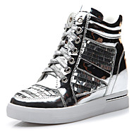 Women's Shoes Synthetic Flat Heel Comfort Fashion Sneakers Wedding / Office & Career / Dress / Casual Black / Silver