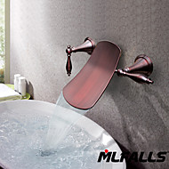 Mlfalls sanitary fittings oil-rubbed bronze waterfall wall Mounted Basin Faucet