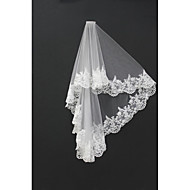 Wedding Veil Two-tier Blusher Veils / Shoulder Veils / Fingertip Veils Lace Applique Edge Tulle White / Ivory