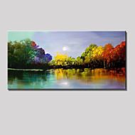 håndmalt farge tre abstrakt landskap moderne oljemaleri på lerret ett panel klar til å henge