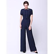 저녁 정장파티 드레스 - 다크 네이비 시스/컬럼 발목 길이 보석 쉬폰