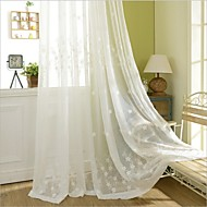 Two Panels Country Floral Botanical White Bedroom Polyester Panel Curtains Shades