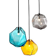 E27 220V 18x18CM Creative Ice Crystal Personality Glass Diamond Pendant Chromatic Droplight Lamp Led Light
