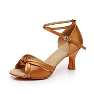 Non Customizable Women's Dance Shoes Latin / Salsa Satin / Flocking Flared Heel
