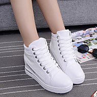 Women's Shoes Canvas Wedge Heel Round Toe Athletic Shoes Outdoor / Athletic / Dress / Casual Black / White