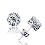 Stud Earrings Crystal AAA Cubic Zirconia Basic Fashion Simple Style Silver Sterling Silver Crystal Zircon Cubic Zirconia Crown Silver
