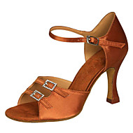 Non Customizable Women's Dance Shoes Latin / Swing Shoes / Salsa / Samba Satin Stiletto Heel Black / Brown / Other