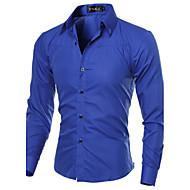 Erkeklerin Ekose Günlük Pamuklu / Polyester Uzun Kollu Gömlek Siyah / Mavi / Kırmızı / Beyaz