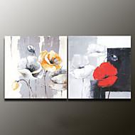Handgeschilderde Bloemenmotief/BotanischModern Twee panelen Canvas Hang-geschilderd olieverfschilderij For Huisdecoratie