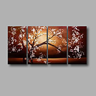 Ready to Hang Stretched Hand-painted Oil Painting 4 pieces Canvas Wall Art Modern White Blosssom Brown Flowers