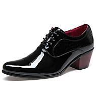 Черный-Мужской-Для офиса Повседневный Для вечеринки / ужина-Лакированная кожа Дерматин-На низком каблуке-Удобная обувь Оригинальная обувь