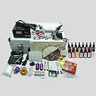 2 máquinas basekey kit de tatuagem 224 máquina de tatuagem com fonte de alimentação apertos copos agulhas