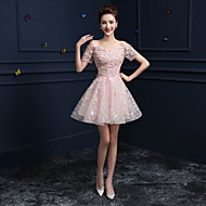 Formal Evening Dress - Candy Pink A-line Off-the-shoulder Knee-length Lace