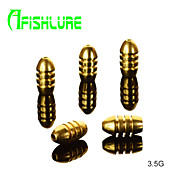 Afishlure Bullet Type Pure Copper Fishing Weights Fishing Accessaries 3.5g Threaded Copper Pendant 10pcs/lot