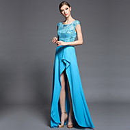 Formal Evening Dress - Pool Sheath/Column Jewel Asymmetrical Charmeuse / Matte Satin / Satin Chiffon