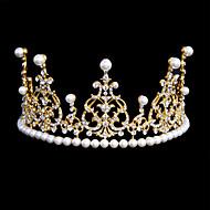 Bride's Rhinestone Imitation Pearl Forehead Wedding Crown Tiaras Headwear 1 Pieces