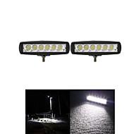 2pcs 6 Zoll 18w 12v CREE LED Punkt-Arbeitslicht Barwagen Arbeitsscheinwerfer-Lampe zum Bootfahren / Jagd / Fischerei / Offroad-SUV