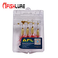 "Afishlure Copper Metal Bait Jigs Spinner Baits Spoons Trolling Lure 4 pcs,5 g/1/6 oz. 80mm /3-1/4"" Gold MetalSea Fishing"