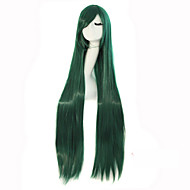 Cosplay Long Straight Hair High Temperature Wire Dark Green Synthetic Wigs Hot Sale.