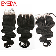 "Cheap Human Lace Closure Body Wave 4""x4"" Middle/Free/Three Part Swiss Lace Closure 8""-20"""