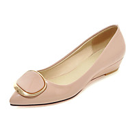 Women's Shoes Patent Leather Flat Heel Pointed Toe Flats Office & Career / Dress / Casual Black / Pink / White / Beige