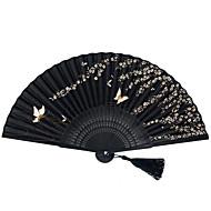 Butterfly Thema-Golf Style Hand Waaier / Shell Style Hand Waaier / Klassieke Hand Waaier-Zijde-Bamboe-Hand Waaier(Zwart)Voorjaar / Zomer