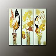 Peint à la main A fleurs/BotaniqueModern Trois Panneaux Toile Peinture à l'huile Hang-peint For Décoration d'intérieur