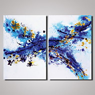 2 Panels Blue Abstract Painting Picture Print on Canvas Modern Wall Art Unframed