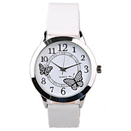 Dames Dress horloge Modieus horloge Kwarts Waterbestendig imitatie Diamond PU Band Glitter Vlinder Wit Wit