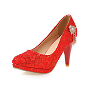 Women's Shoes Stiletto Heel Heels/Round Toe Heels Wedding Shoes/Party & Evening/Dress Red/Silver/Gold