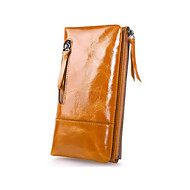 Women 's Oil Wax  Genuine Leather  Large capacity Clutches Wallet Fashion Carved Pulling Zipper Handbags