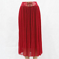 Women's Solid Red / Beige / Black / Gray Skirts , Boho / Holiday Maxi
