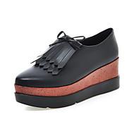 נעלי נשים - בלרינה\עקבים - דמוי עור - מעוגל - שחור / אפור - שמלה / קז'ואל - עקב וודג'