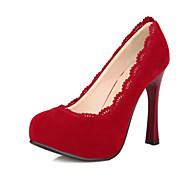 Feminino-Saltos-Plataforma-Salto Agulha Plataforma-Preto Marrom Vermelho-Flanelado-Casamento Social Festas & Noite