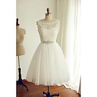 A-line Wedding Dress Tea-length Bateau Lace / Tulle with Button / Lace / Sash / Ribbon