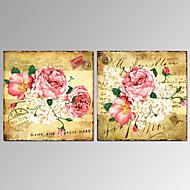 Asetelma / Fantasy / Kasvitiede / Romantiikka Canvas Tulosta 2 paneeli Valmis Hang , Neliö