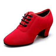 Na míru - Dámské - Taneční boty - Latina - Kanvas - Kubánský - Černá / Červená