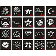 20pcs 6X6CM Henna Tattoo Stencil & Template For Painting, Airbrush Tatoo & Temporary Tattoos