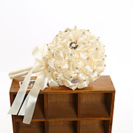 """פרחי חתונה עגול ורדים זרים חתונה פוליאסטר / סאטן / סאטן אלסטי 9.06""""(לערך.23ס""""מ)"""