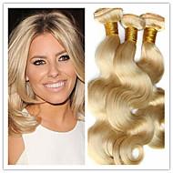 """3st lot blont brasilianskt hår mänskliga jungfru hårförlängningar 8A brasiliansk vågigt 8 """"-34"""" färg 613 blond jungfru hår"""